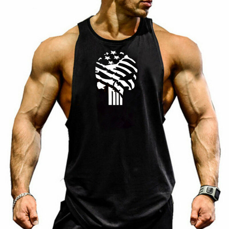 New Summer Men Casual Muscle Bodybuilding Sleeveless  Tank Top Singlet Cotton Vest Casual Size