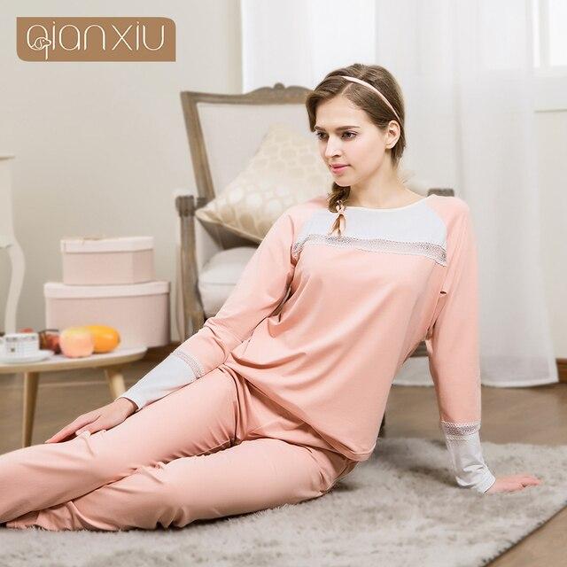 Qianxiu Новая осень Pajiama наборы Шею Parchwork Домашней одежды Осень хлопок пижамы женщин