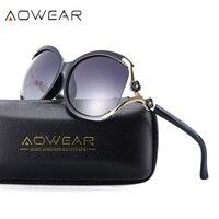 Aowear роскошные негабаритных поляризованные Солнцезащитные очки для женщин Для женщин Брендовая Дизайнерская обувь цветок камелии женские ...