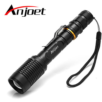 Anjoet Waterproof CREE XM-L T6 / L2 LED Tactical Flashlight 5-Modes Zoomable light by 18650 batteries Camping Torch Lamp