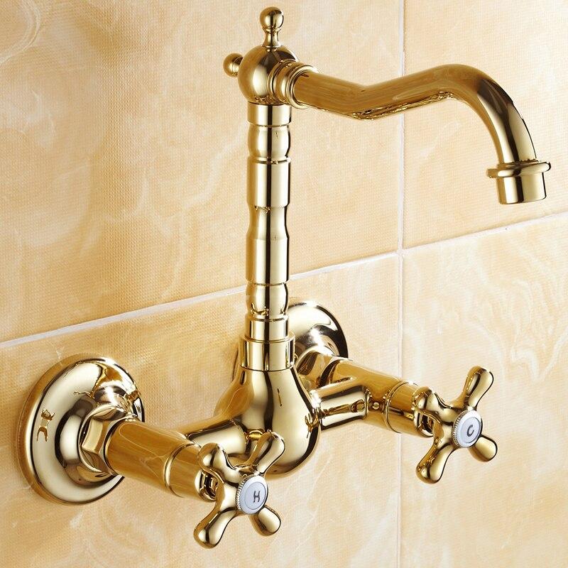 Antique Gold Plate Wall Mount Bathroom Sink Faucet Soild Brass Euro