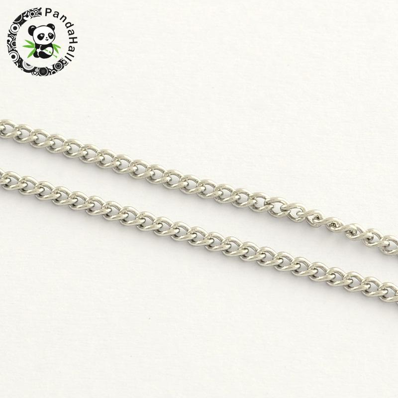 Stainless Steel Twisted Chains, Stainless Steel Color, 2.5x2x0.5mm; about 25m/roll