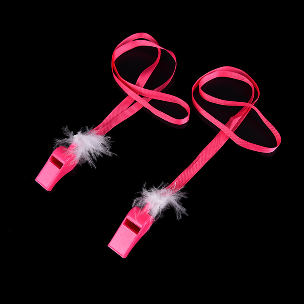 1Pcs Hen Party Night Pink White Feather Whistles Wedding Bride toys plastic whistles Favor Wedding Party Supplies