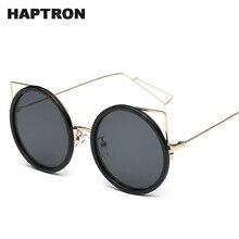ad5a295619 HAPTRON redondo Vintage gafas de sol de mujer de moda de la marca de orejas  de gato gafas de sol Retro transparente de aleación .