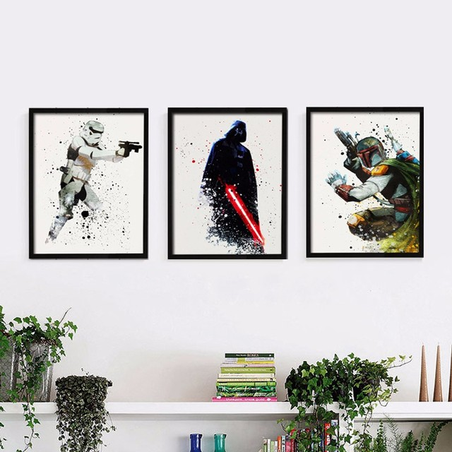 Star Wars Canvas Wall Art Movie Poster Canvas Painting POP Decorations Wall Pictures for Living Room Kids Home Decor No Frame