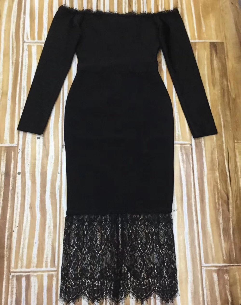 Del Di 2019 Manica Da Vestiti Aderente Vestito Slash Estate Celebrità Fasciatura Nero Donne Il Collo Lunga Verano Clubwear Dalla Abiti Partito pEdwqp4