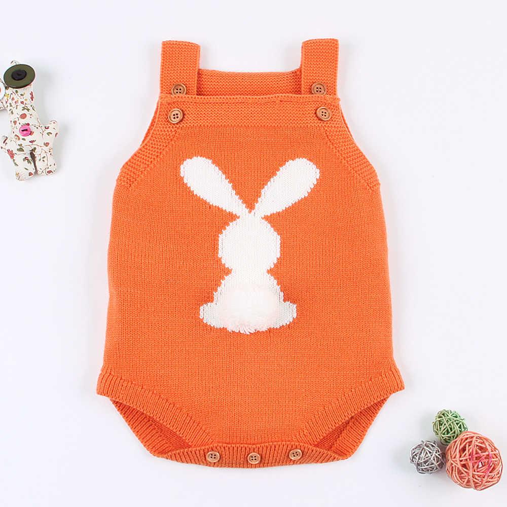 Одежда для маленьких девочек боди 2018 милый кролик шаблон новорожденных Bebe комбинезоны осень-зима малышей Комбинезоны для младенцев одежда без рукавов