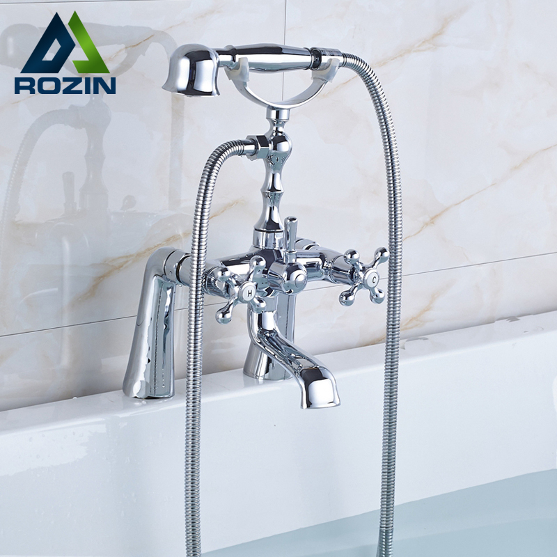 Bright Chrome Deck Mounted Bathtub Faucet Mixers Brass Handheld Shower Dual Handle Swivel Spout Tub Faucet Taps Telephone Style wall mounted bright chrome bathtub sink faucet two cross handles bathroom handheld shower mixers swivel tub spout