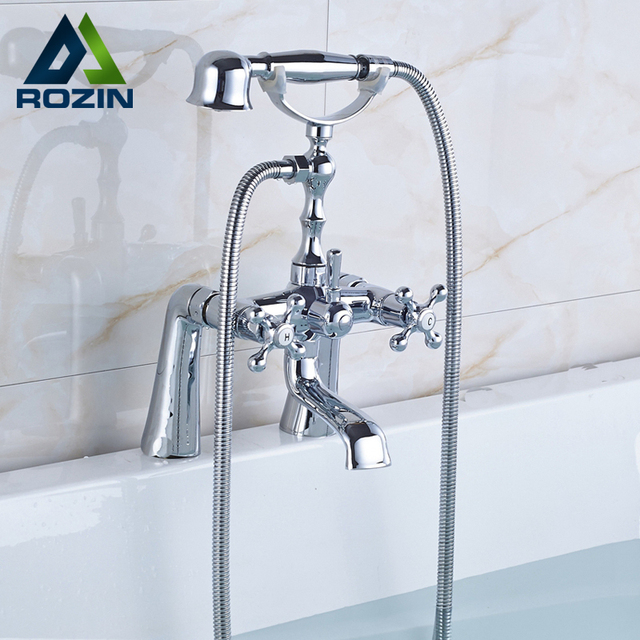 shower hook up to bathtub faucet. Bright Chrome Deck Mounted Bathtub Faucet Mixers Brass Handheld Shower Dual  Handle Swivel Spout Tub