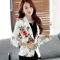 Women Casual Elegant Floral Print Blazers Spring Autumn Fashion Long Sleeve Turn Down Collar Lady Blazers