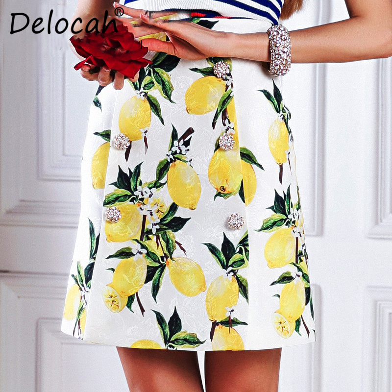 Delocah Summer Fashion Designer Skirt Women Gorgeous Button Lemon Printed Casual Jacquard Mini Skirts 2020 High Quality
