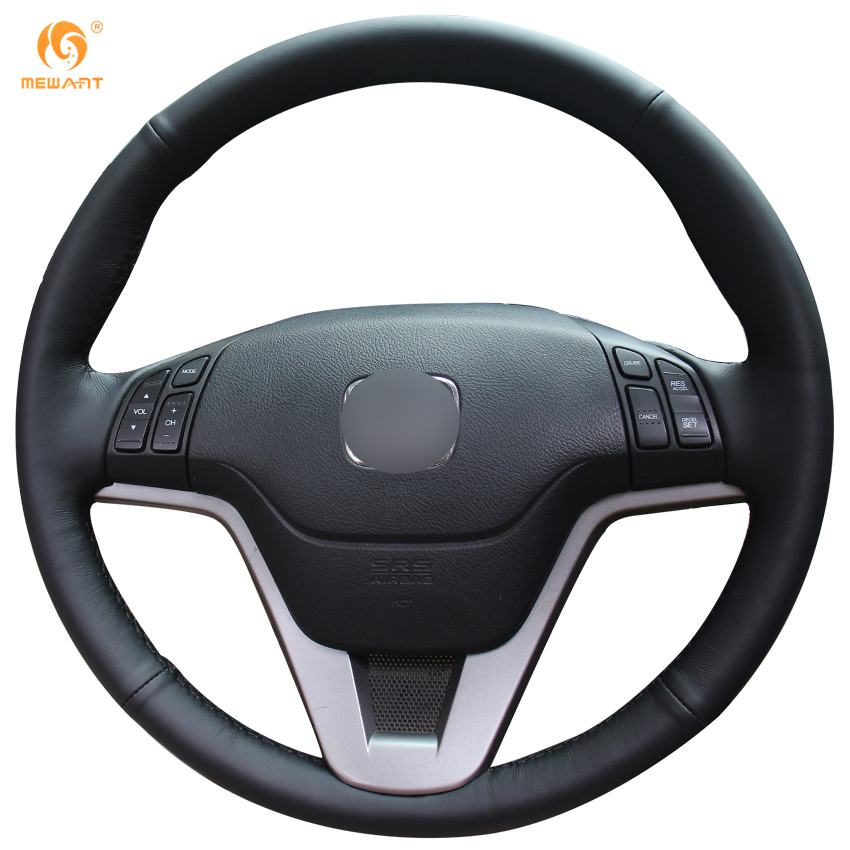 MEWANT Black Genuine Leather Car Steering Wheel Cover for Honda CRV CR-V 2007-2011 runba ice silk steering wheel cover sets with red thread