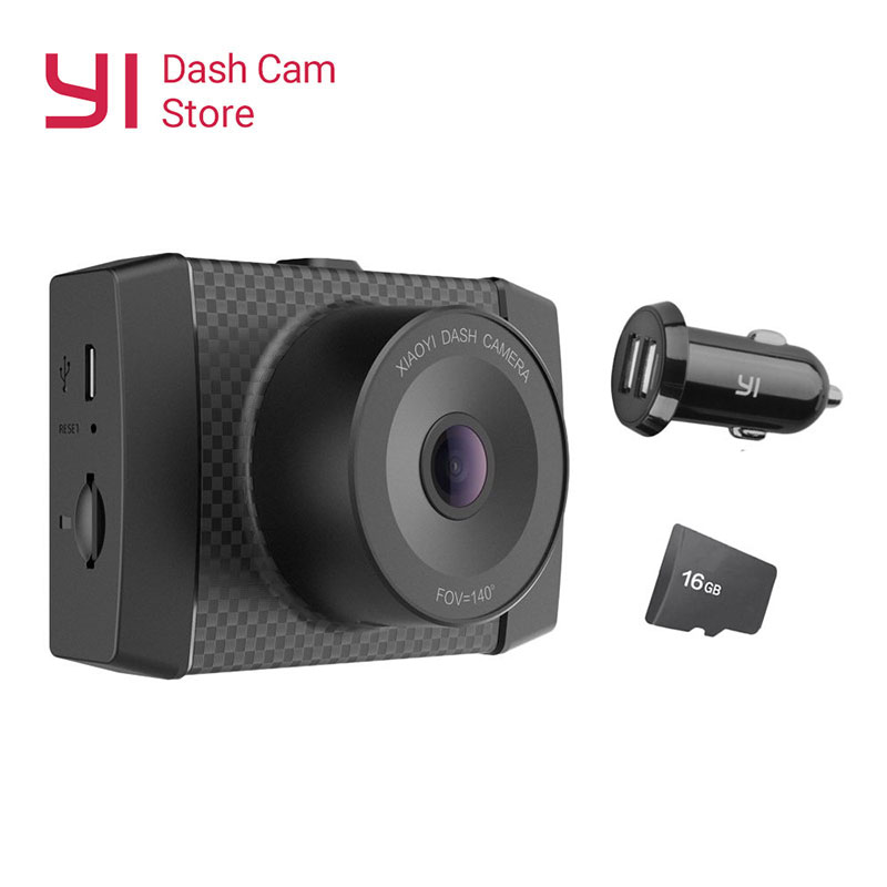 YI Ultra Dash caméra avec carte 16G 2.7K résolution voiture DVR A17 A7 double coeur puce commande vocale capteur de lumière 2.7 pouces écran large