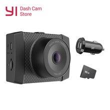 Yi ultra traço câmera com 16g cartão resolução 2.7k carro dvr a17 a7 duplo núcleo chip de controle de voz sensor de luz de 2.7 polegadas widescreen