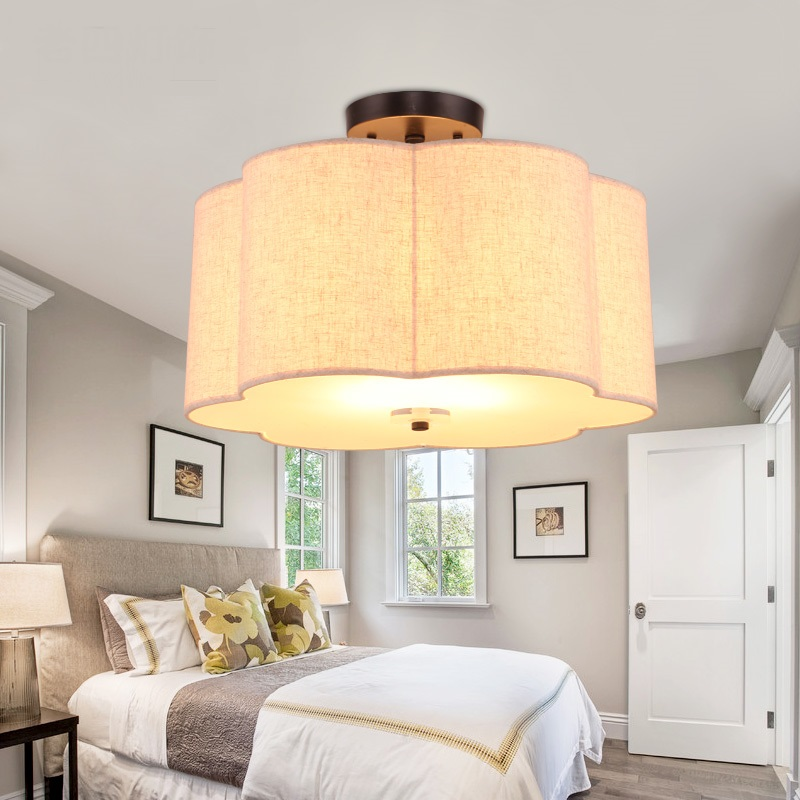 American style cloth ceiling lamp simple European modern dining room bedroom flower type ceiling lamps Pendant Light ZA621 ZL212 european style garden princess bedroom bedside lamp shade cloth fabric floral lace crystal simple dimmable