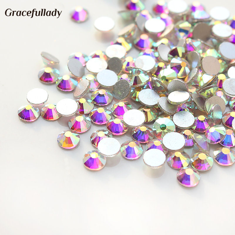 Top quality 1440pcs SS3 Clear AB Nail Art Rhinestones For Nails 3D Manicure Decoration Shiny Non Hotfix Flatback Crystal ccbling super shiny ss3 ss40 bag clear crystal ab color 3d non hotfix flatback nail art decorations flatback rhinestones