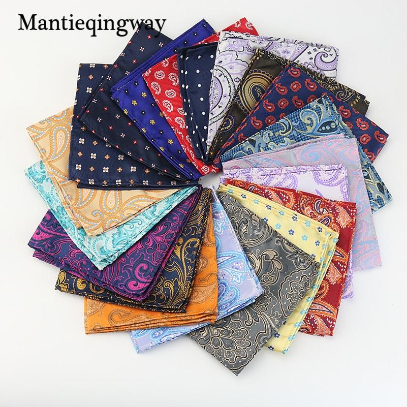 Mantieqingway بيزلي منديل للرجال البدلة البوليستر الأحمر بيزلي و Dot Men Fashion Paisley Pocket Square Tie منديل
