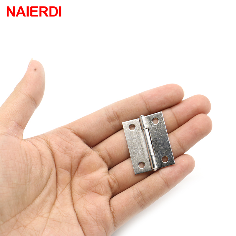 NAIERDI 20pcs 1.5Inch Stainless Steel Mini D Hinge 38mm*27mm Jewelry Box Silver Cabinet Door Hinges For Furniture Hardware 1 pair 4 inch stainless steel door hinges wood doors cabinet drawer box interior hinge furniture hardware accessories m25