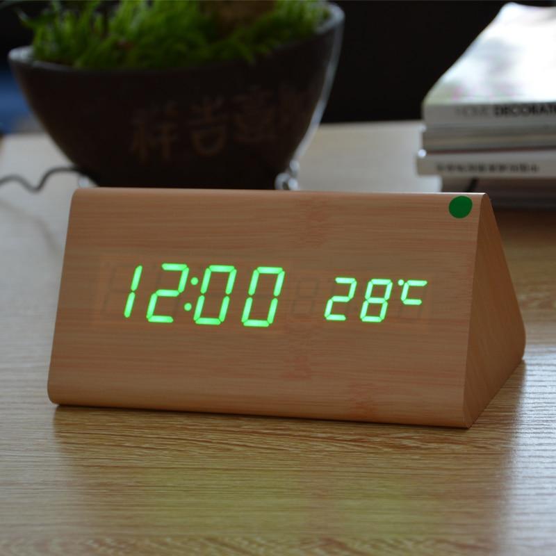 Modern Electronic Display Home Decor Wood Wooden Digital LED Alarm Clock Sound Control Desktop Clocks with Temperature Clock