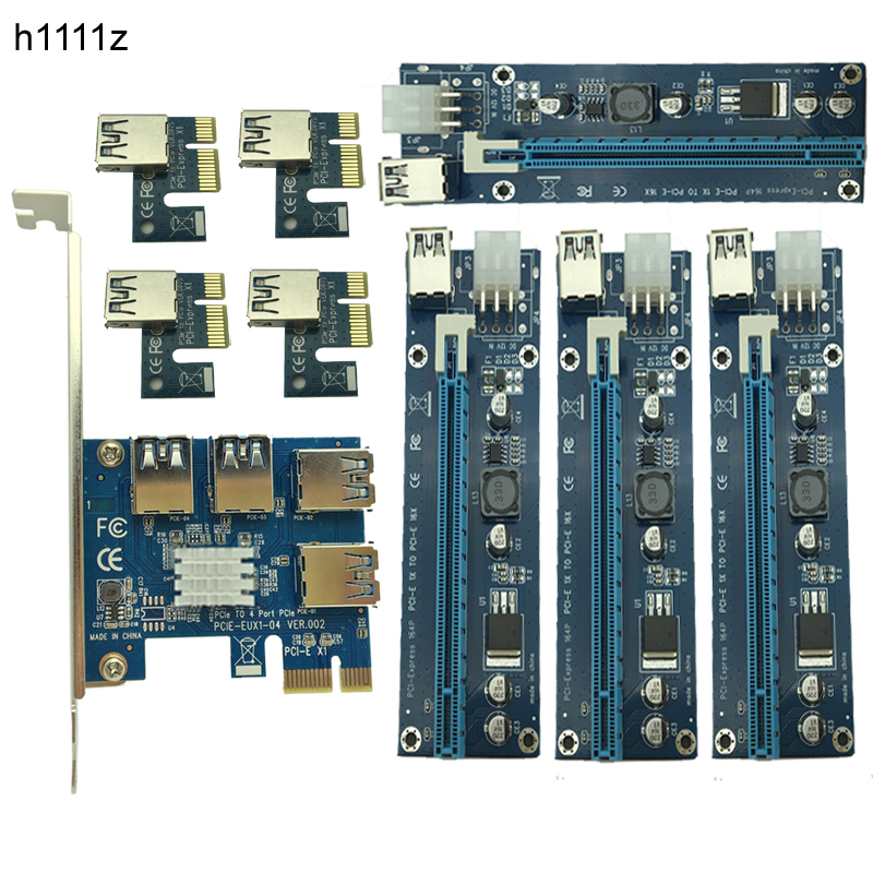NEW Mining Card PCIe 1 to 4 PCI Express 16X Slots Riser Card PCI-E 1X to 16x External PCI-e Slot Adapter Port Multiplier for BTC new aad in card pcie 1 to 4 pci express 16x slots riser card pci e 1x to external 4 pci e slot adapter pcie port multiplier card