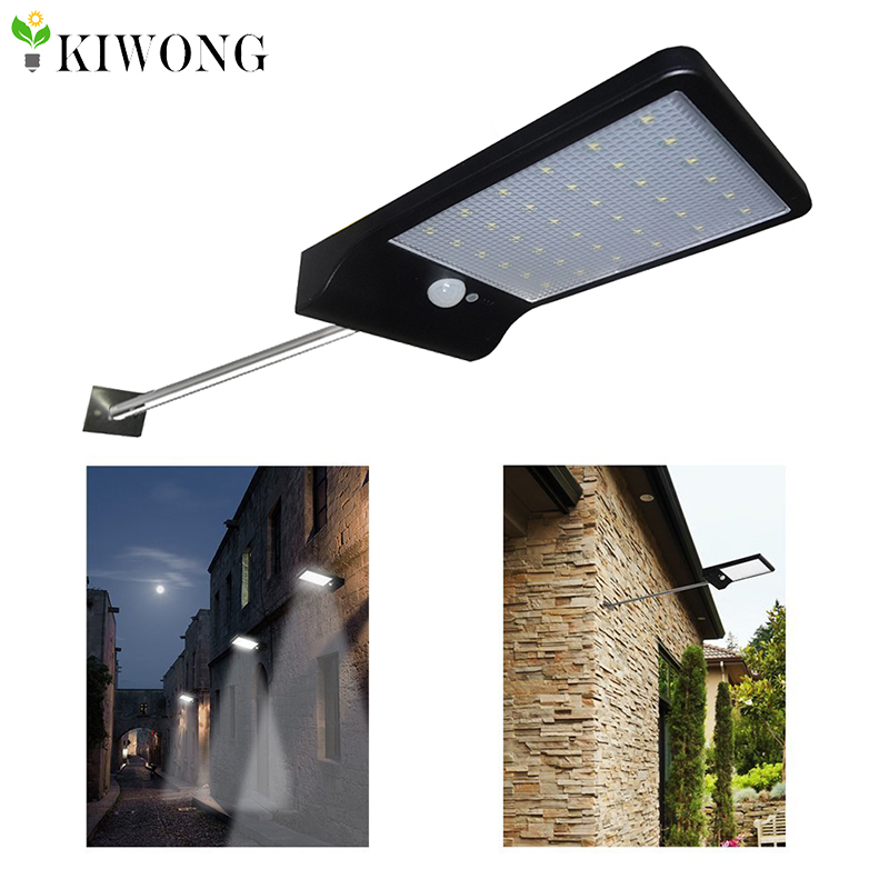 36led Solar Light With Mounting Pole Outdoor Motion Sensor Detector Lamp Wall Sconces Lighting For Garden