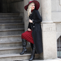 S XXXL Superior Quality Black Woolen Coat Winter New Fashion Designer Double Breasted Long Maxi Overcoat Plus Size Jacket 5722