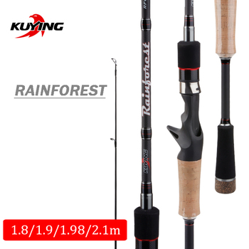 KUYING Rainforest 1.8m 1.9m 1.98m 2.1m Casting Spinning Lure Fishing Rod Pole Cane Stick Soft Medium Carbon Fast Action 2Section