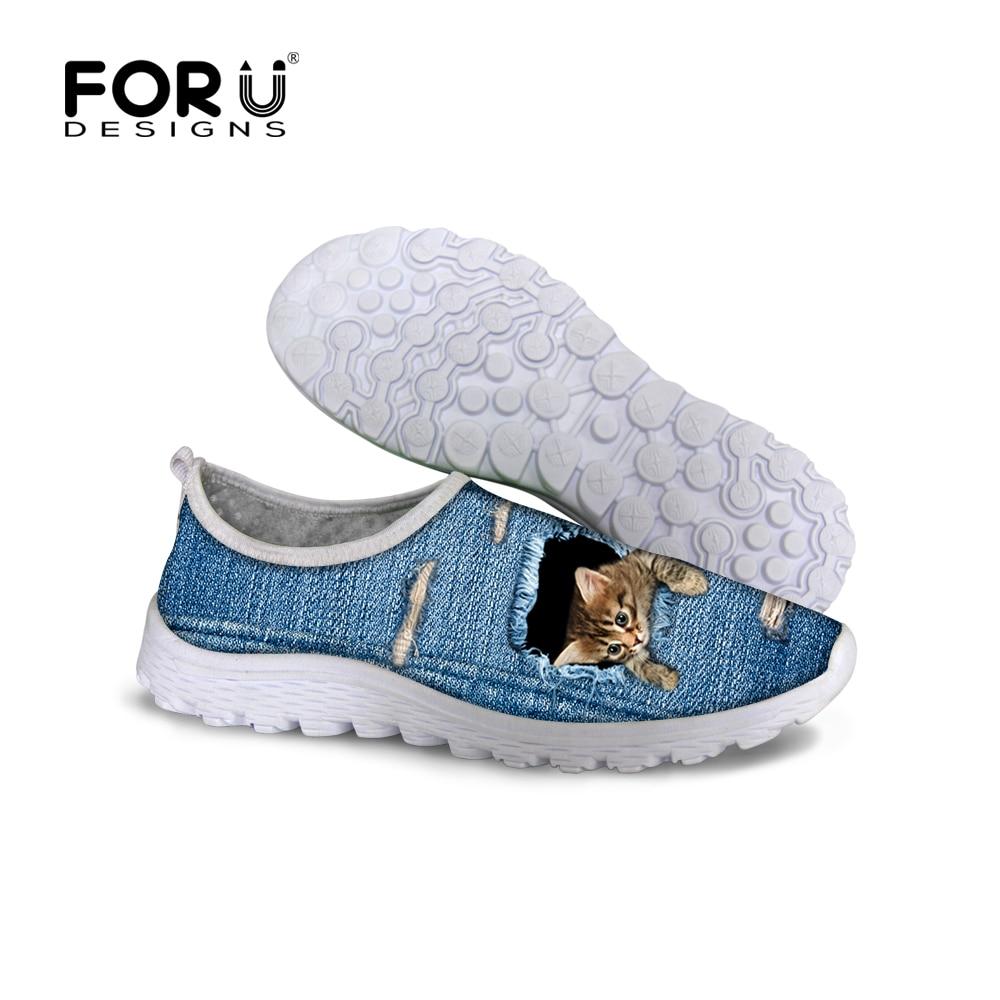 FORUDESIGNS Fashion Blue Denim Cute 3D Animal Cat Pet Dog Printed Women Casual Mesh Shoes Super Light Summer Spring Shoes Flats