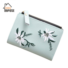 Snailhouse Embroidery Short Wallet PU Leather Wallets Female Floral Hasp Coin Purse Zipper Bag Card Holders storage bag