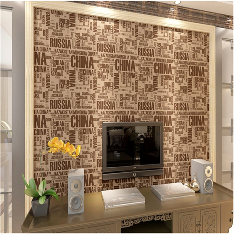 Flock Words Textured Wallpapers English Letters Modern 3D Wall Rolls PVC Waterproof for Living Room Walls Papers Home Decor stylish diy purple mangnolia and letters pattern wall stickers for home decor