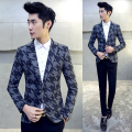 Costume Homme 2016 New Spring Hot Sale Woolen Blazers for Men Plus Size Long Sleeve Slim Fit Mens Floral Blazer 5XL-M