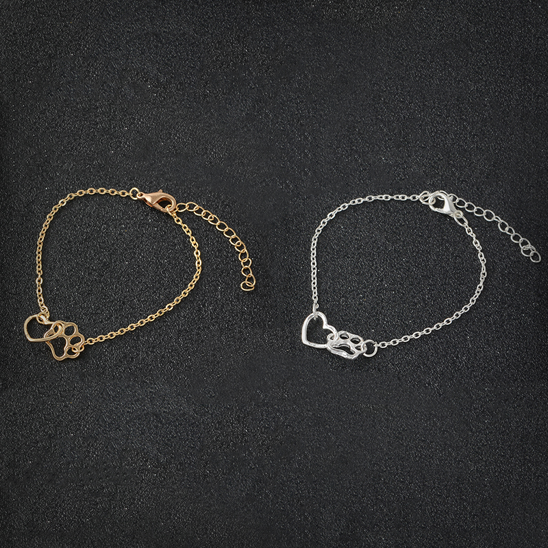 Paw and Heart <font><b>Bracelet</b></font> Gold Silver <font><b>Dog</b></font> Cat Paw Claw <font><b>Bracelet</b></font> For Women Men Fashion Simple <font><b>Bracelet</b></font> For Animal Lovers Pet owner image