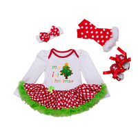 4pcs Set Newborns Baby Boy Girl Tutu Clothes Baby 1st Birthday Christmas Party Costume Clothing Set