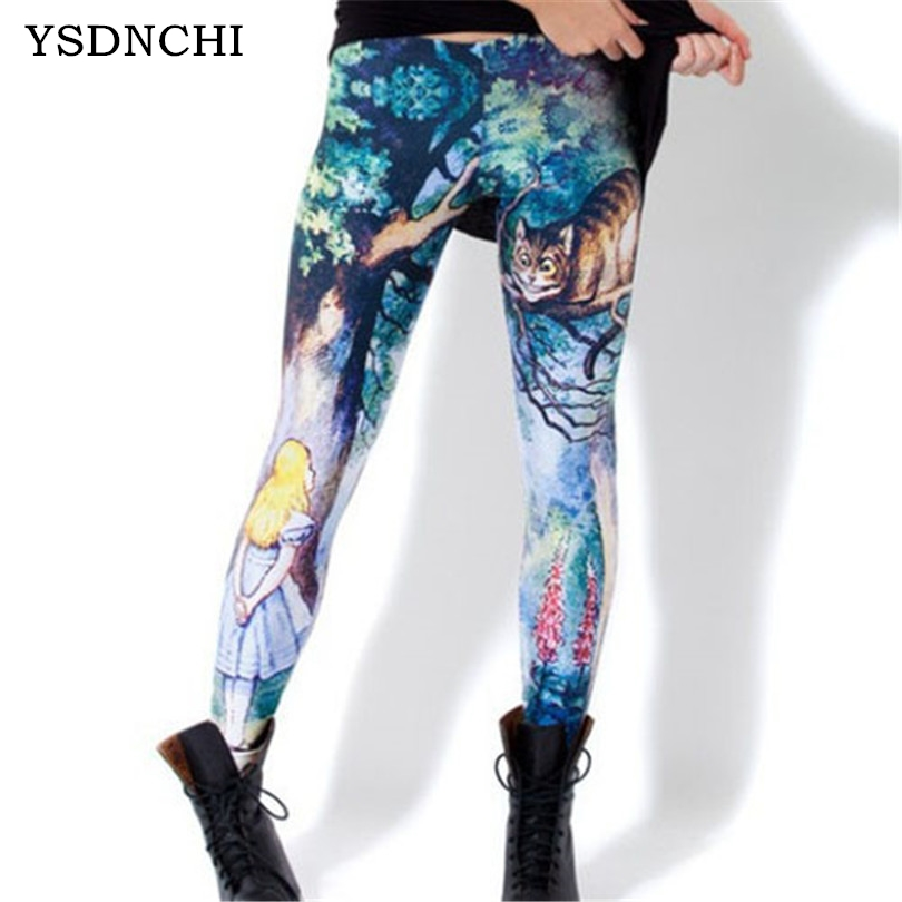 YSDNCHI Alice Cheshire Cat 3D Digital Leggins For Women Slim   Leggings   Cartoon Female Clothing Autumn Elasticity Sexy Halloween