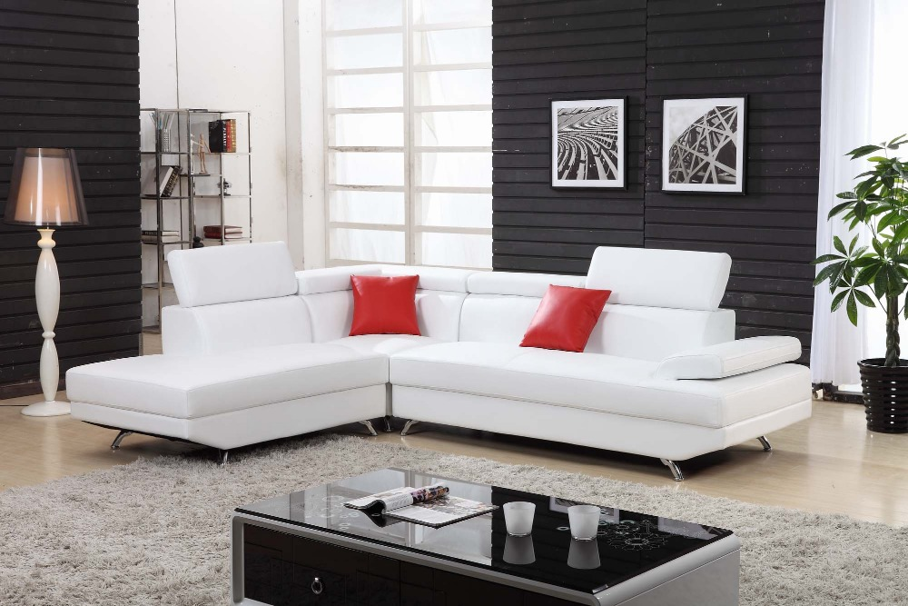 L Shaped Clean Comfortable Pure White Leather Sofa In Living Room