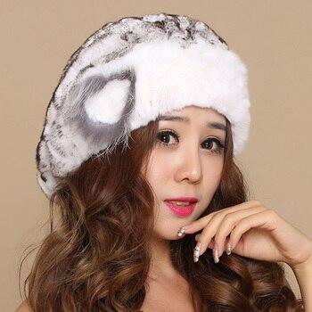 Sombreros de invierno de mujer Btouca gorro femenino inverno Boina CapBoinas de piel auténtica Feminina gorro tejido de piel boinas rusas