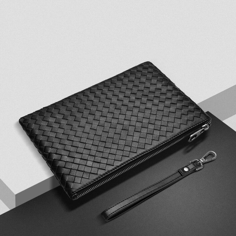2018new style fashion luxury Large high-capacity men handbag Sheepskin braid Soft leather business handbag
