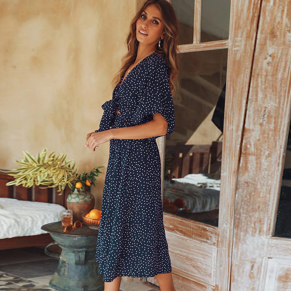 women summer casual bohemian dress Women Short Sleeve V Neck Wrap Boho Dress 8