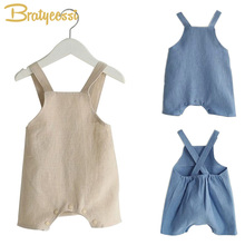 Cotton&Linen Baby Girl Romper Solid Color Suspender Overalls Infant Boy Jumpsuit Baby Clothes M/L 1 PC