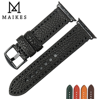 MAIKES Quality Genuine Leather Watch Strap Black Bracelet With Adapter For Apple Watch Band Series 3