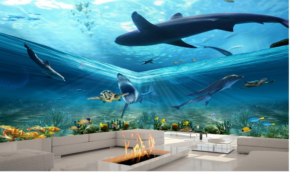 Custom 3d photo wall paper ocean shark dolphin theme space for Dolphin mural wallpaper
