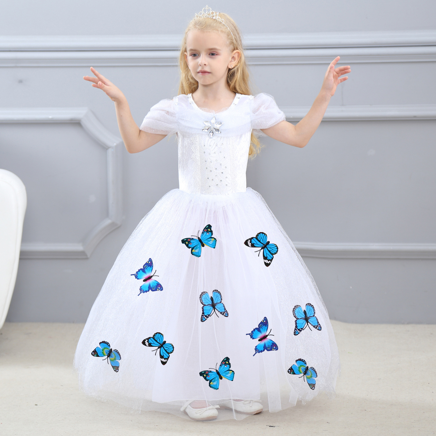 Children Fancy For Girls Princess Dress Cinderella Butterfly Snow White Dress Christmas Carnival Costume For Kids Party Dresses girls christmas xmas dresses kids girls princess party carnival tutu dress baby girl red new year fancy party dress up outfits