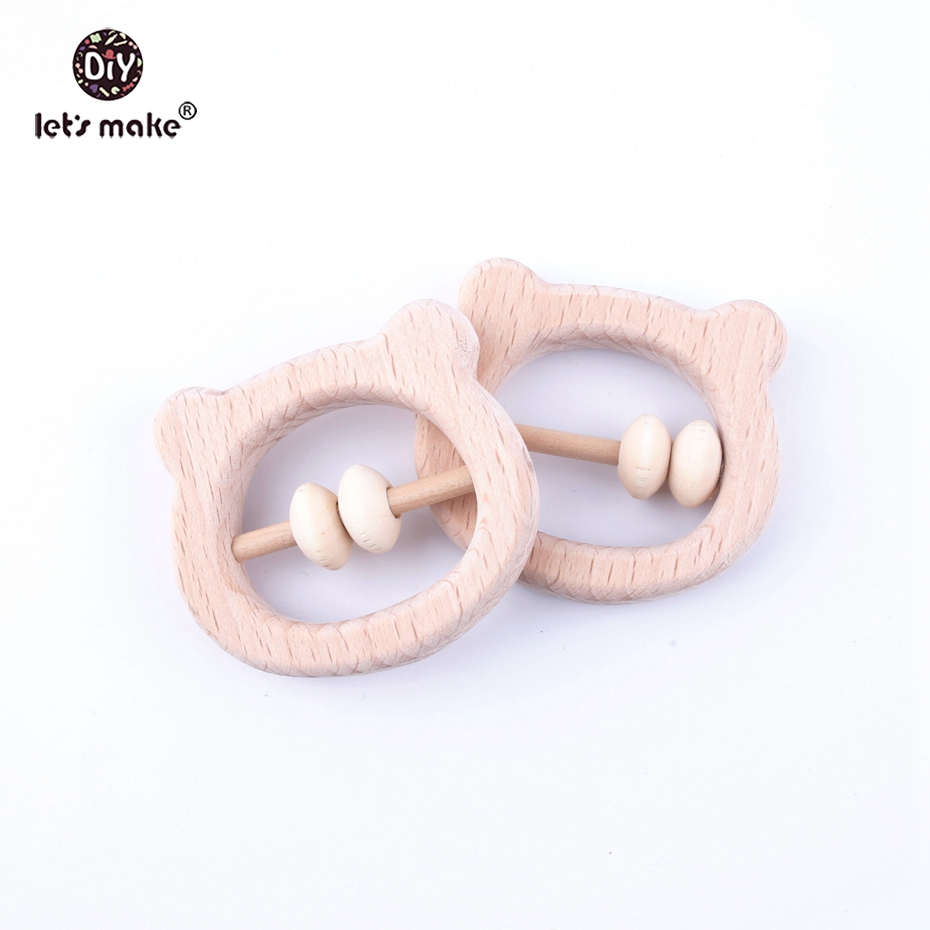 Let's Make 5pcs Beech Wood BPA Free Bear Head Baby Shower Gift Rattle Montessori Newborn Baby Toys Developmental Rattles