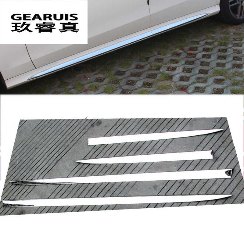 Cool Car styling Auto Side Skirt Car stainless steel Sticker Side Body Door Decoration Trim for Mercedes In 2019 - Latest door skirting Photo
