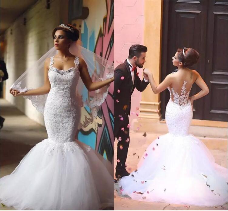 Cheap White Ivory Wedding Dresses Mermaid Lace Appliques: African Elegant Mermaid Designers White Ivory Lace