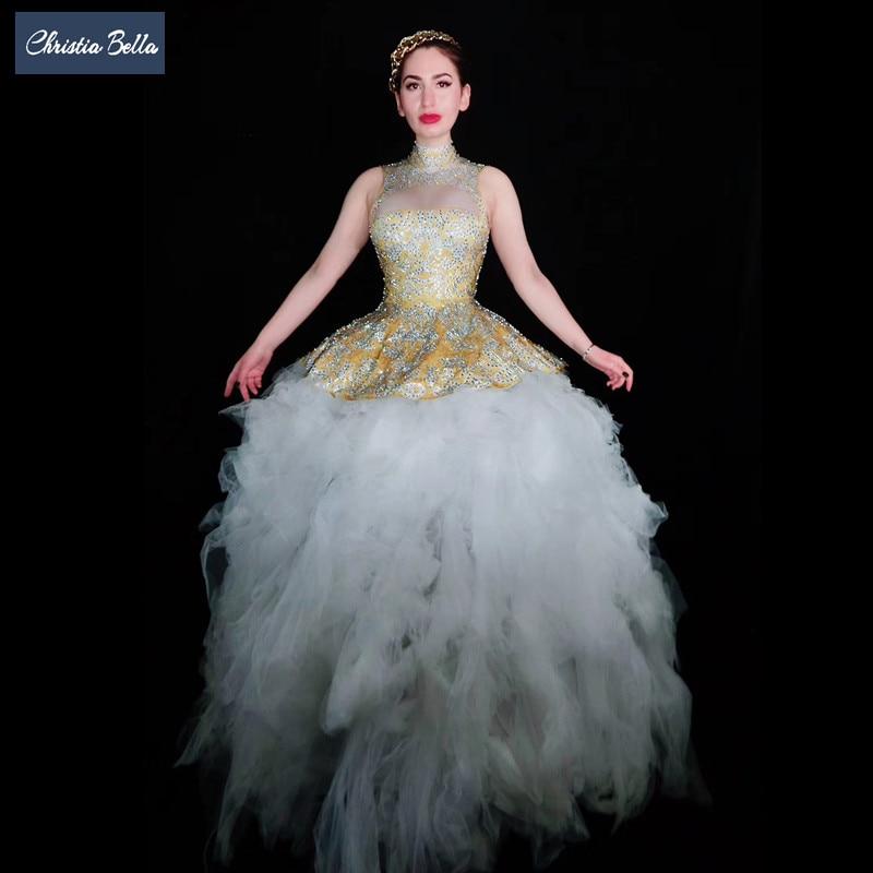 Luxe fête cristaux robe de bal robe sans manches chanteur scène maille longue robe femmes bal une-pièce robe Performance Costumes