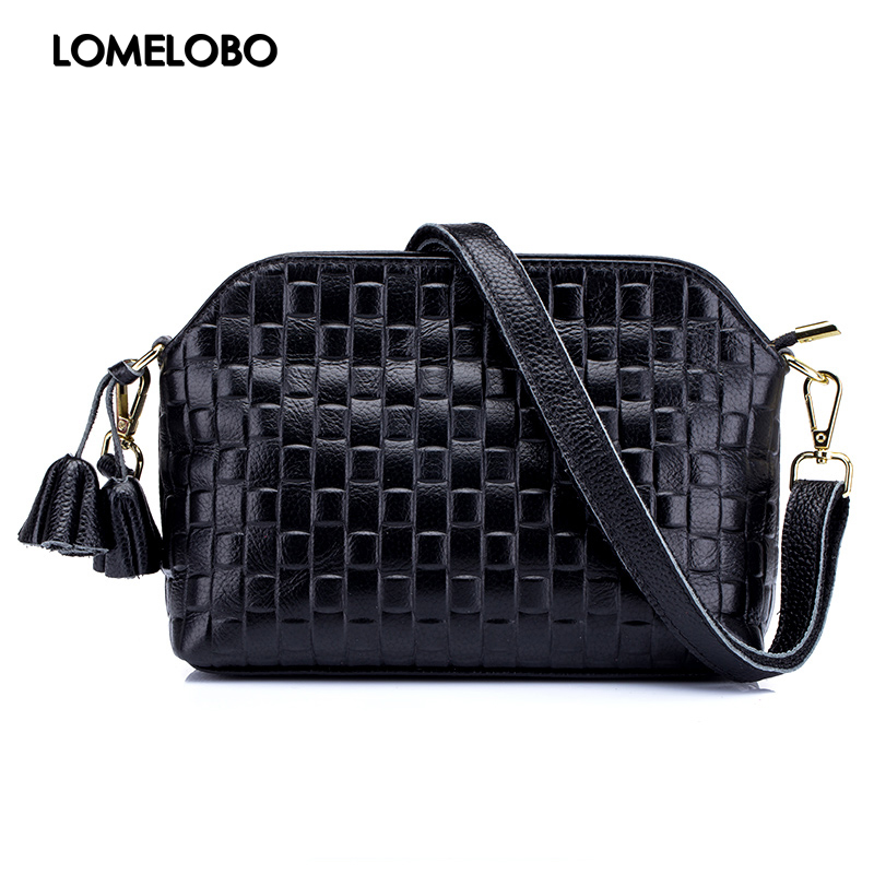 9af87dc58f8c Lomelobo Embossed Women Shell Bag With Tassel Designer Genuine Soft Cow Leather  Female Shoulder Crossbody Bag