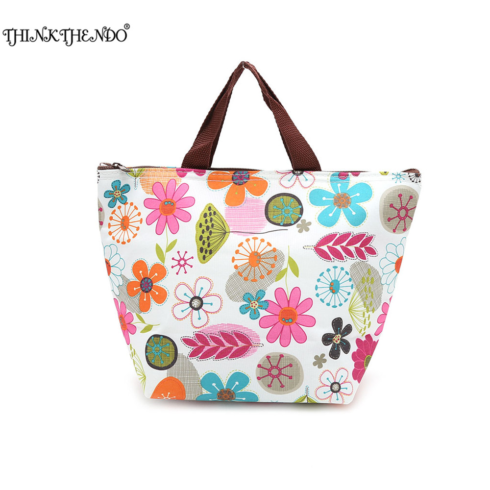 THINKTHENDO Nylon Waterproof Insulated Thermal Cooler Lunch Box Picnic Carry Tote Storage Bag Fashion New Handbag Women in 2017