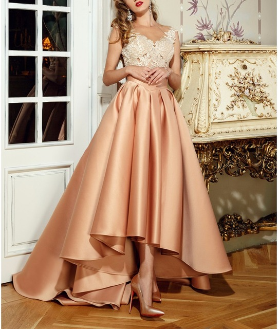 Sexy Applique Lace Evening Party Dress Homecoming Graduation Satin ...