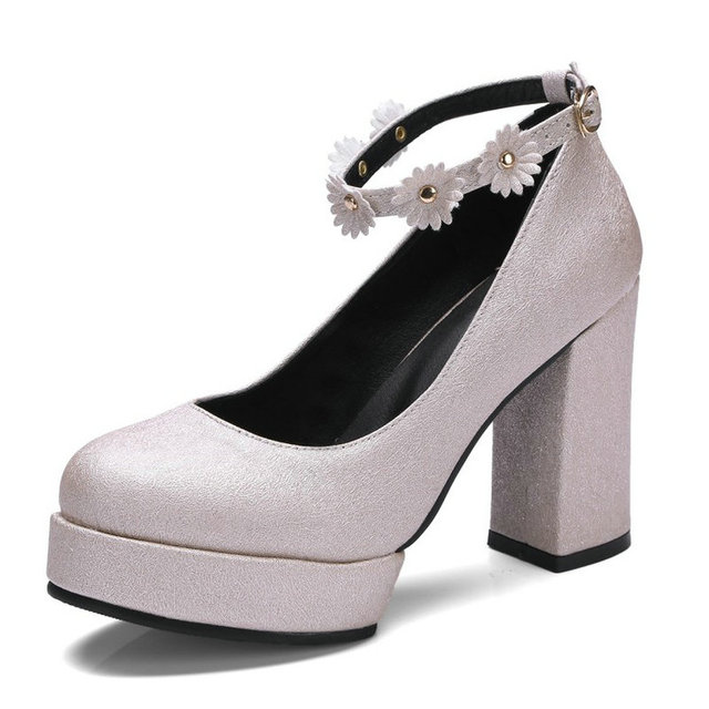 3c33c7fb1e6 New 2018 new round toe glitter platform block high heels woman pumps bridal  shoes for women with ankle strap mary janes
